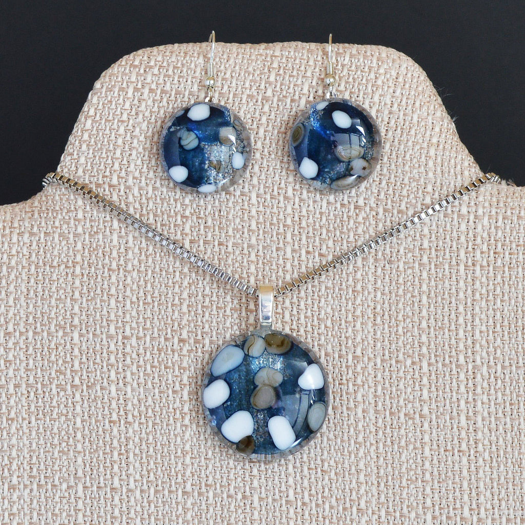Jewelry Fused Glass Pebble Round Pendant & Earring Set | The Glass Rainbow