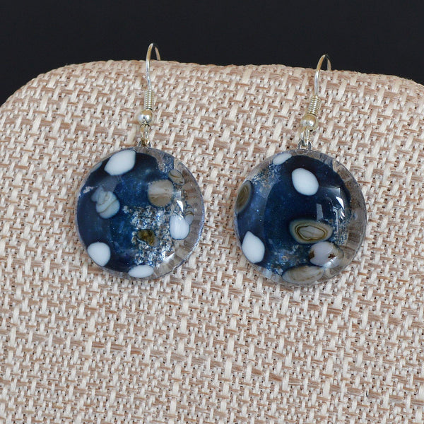 Jewelry Fused Glass Pebble Round Pendant & Earring Set | Kiln Formed Glass