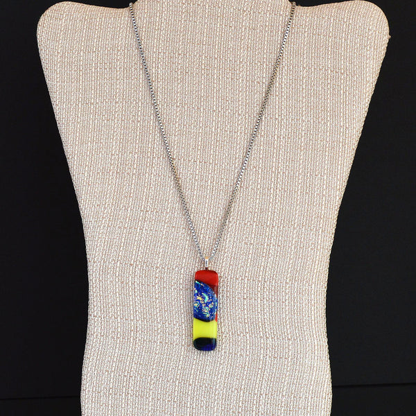 Fused Dichroic Mixed Glass Pendant w/Box Link Necklace