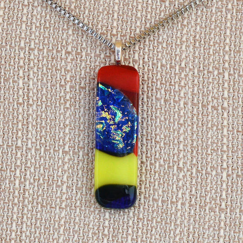 Fused Dichroic Mixed Glass Pendant w/Box Link Necklace | The Glass Rainbow