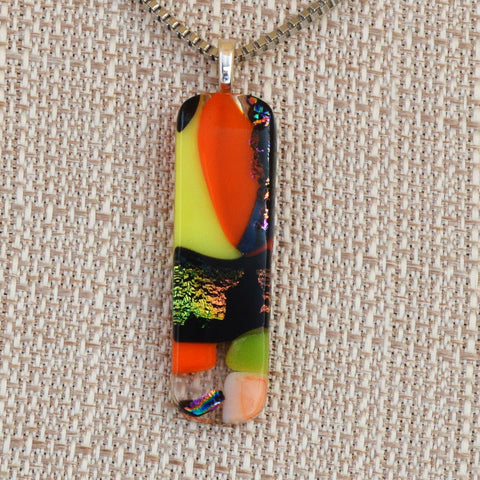 Fused Mixed Glass Pendant w/Stainless Steel Box Link Chain