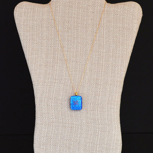 Jewelry Dichroic Fused Glass Butterfly Pendant w/Gold Filled Necklace