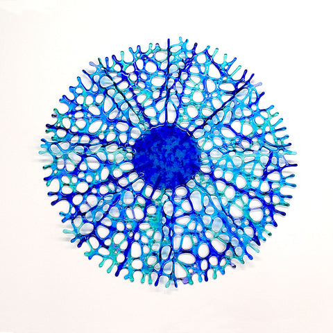 Large Glass Art Sculptured Sea Coral Wall Hanging in Sea Blue | Handcrafted by Brenda Buschle