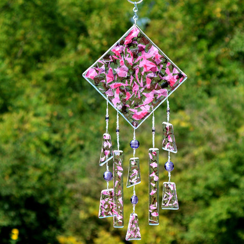 Fused Glass Wind Chimes in Pink Confetti Glass