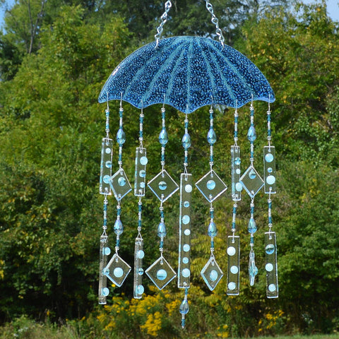 Fused Glass Wind Chimes Umbrella in the Rain