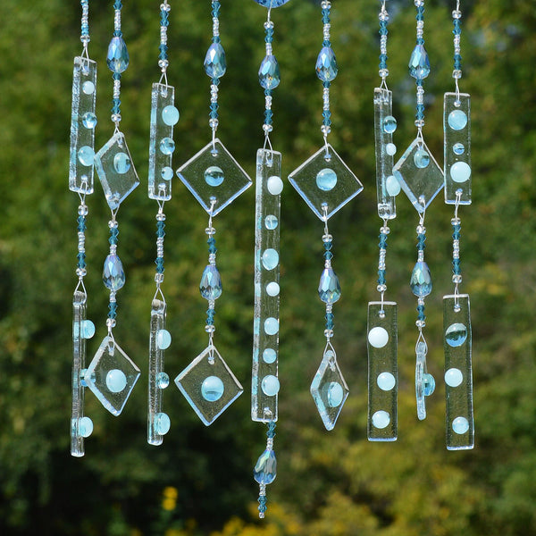 Fused Glass Wind Chimes Blue Umbrella in the Rain