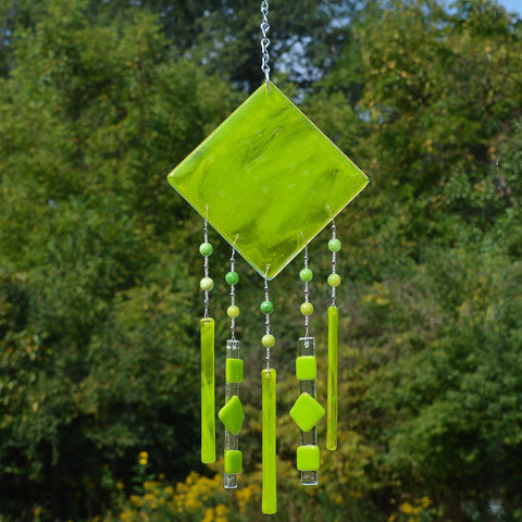Fused Glass Wind Chimes in Streaky Spring Green | Unique Gifts