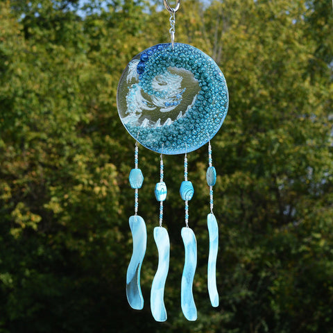 Fused Glass Wind Chimes Ocean Wave Motif in Turquoise Blue