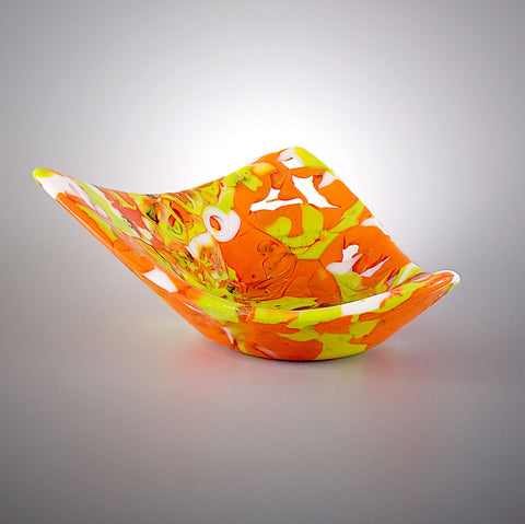 Asymmetrical Glass Art Sculptured Candy Dish | Handcrafted by Brenda Buschle