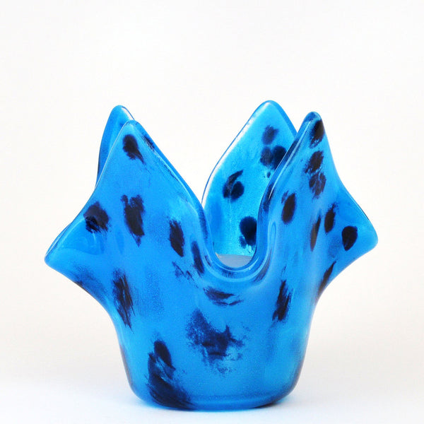 Fused Glass Turquoise Blue Leopard Print Votive Candle Holder