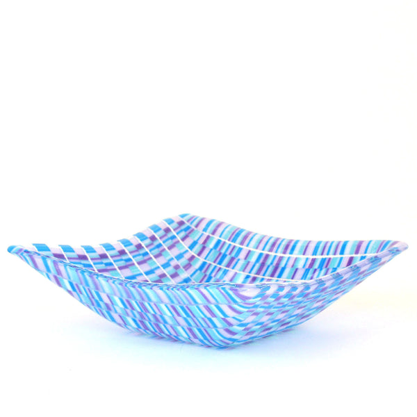 Blue Bargello Glass Candy Dish | Glass Art Gifts