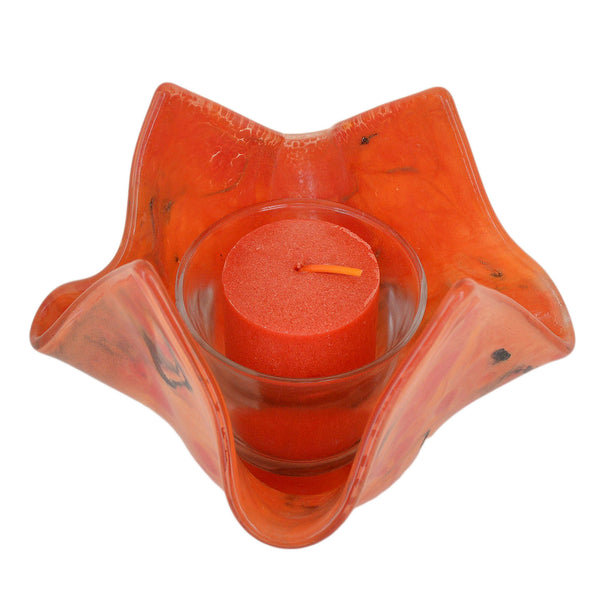 Fused Glass Red Orange Flame Votive Candle Holder