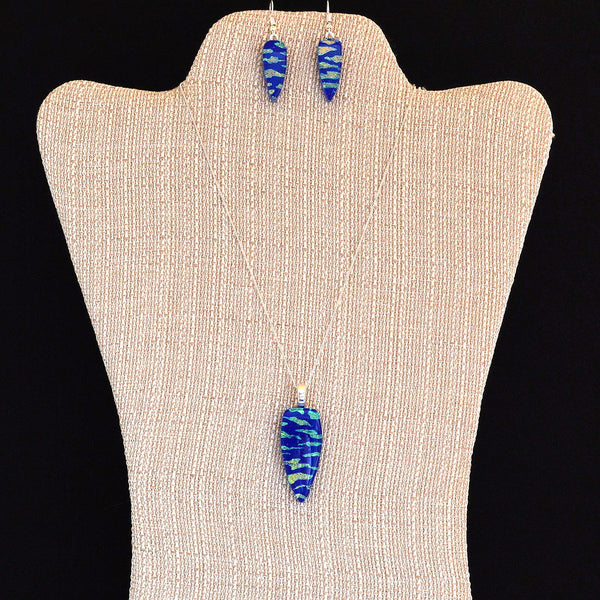 Fused Glass Dichroic Cobalt Blue Pendant & Earring Set