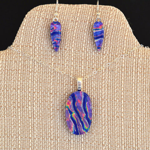 Jewelry Dichroic Fused Purple & Blue Glass Pendant Earring Set