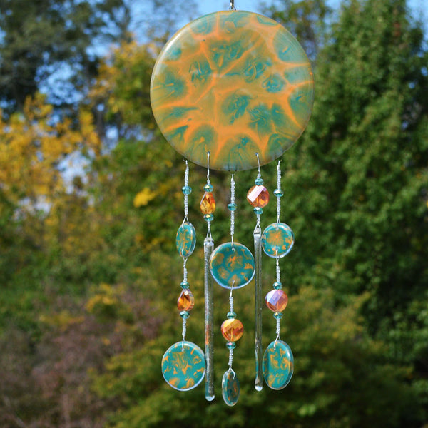 Fused Glass Wind Chimes Hand Painted and Beaded