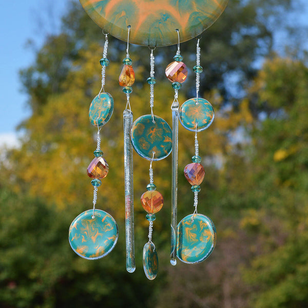 Fused Glass Wind Chimes Hand Painted Abstract Design