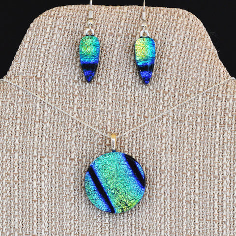 Mixed Blues Dichroic Fused Glass Pendant & Earring Set Custom Jewelry