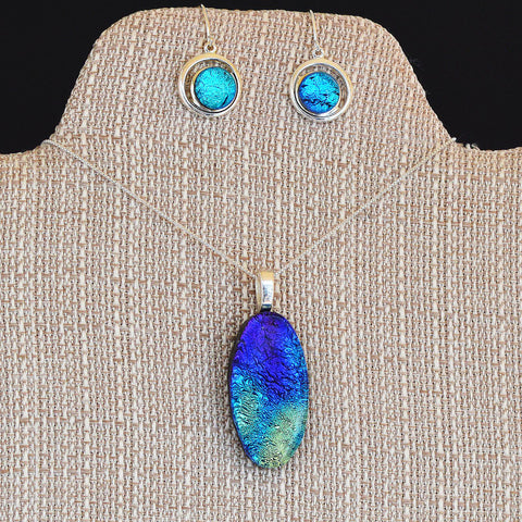 Jewelry Dichroic Fused Glass Mixed Blues Pendant Earring Set