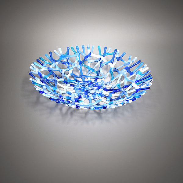 Blue Gray and White Glass Art Coral Fruit Bowl Centerpiece | The Glass Rainbow