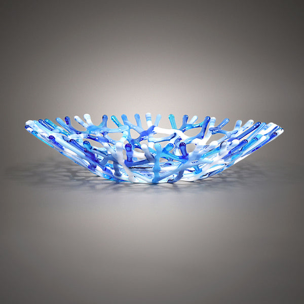 Blue Gray and White Glass Art Coral Fruit Bowl Centerpiece Handcrafted by Brenda Buschle