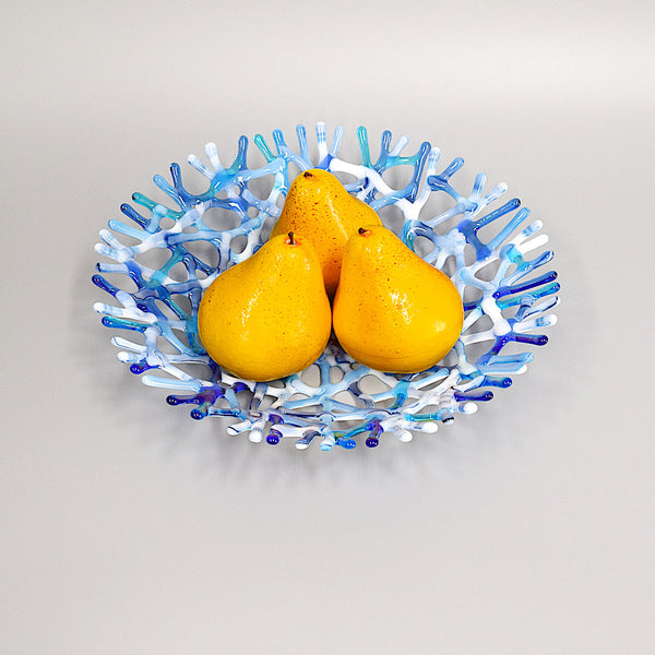 Blue Gray and White Glass Art Coral Fruit Bowl Centerpiece top view