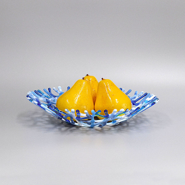 Blue Gray and White Glass Art Coral Fruit Bowl Centerpiece with 3 pears