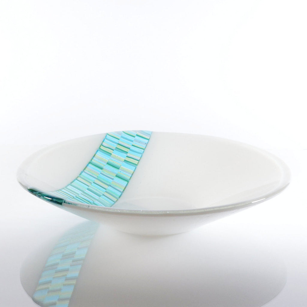 Fused Glass Decorative Serving Bowl with Bargello Glass Inset
