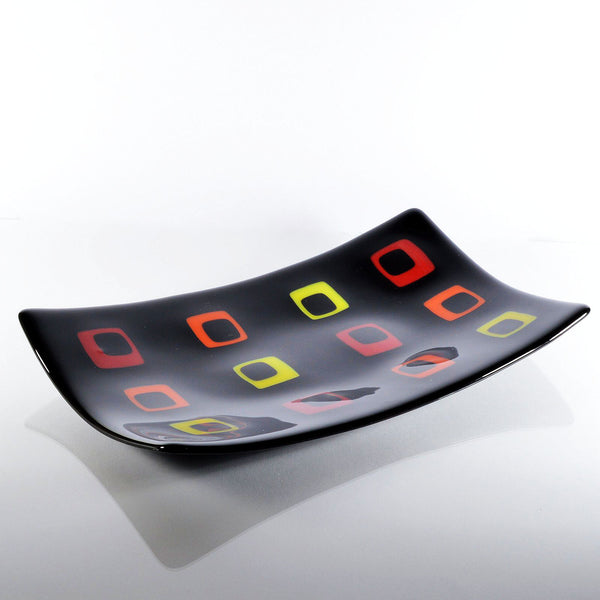 Fused Glass Black Art Deco Sushi Dish | The Glass Rainbow