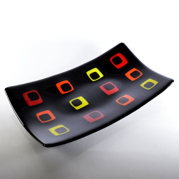 Fused Glass Black Art Deco Sushi Dish | Glass Art