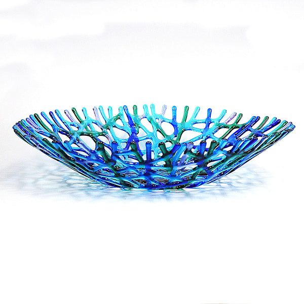 Fused Glass Coral Art XLarge Fruit Bowl Centerpiece | The Glass Rainbow