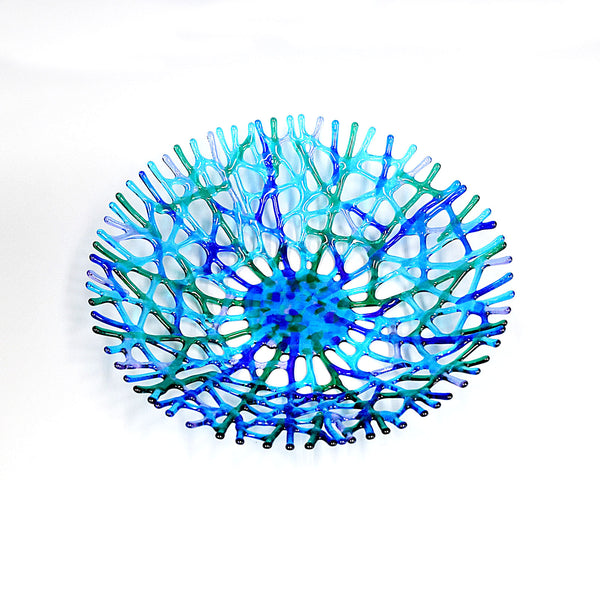 Fused Glass Coral Art XLarge Fruit Bowl Centerpiece Handcrafted by Brenda Buschle