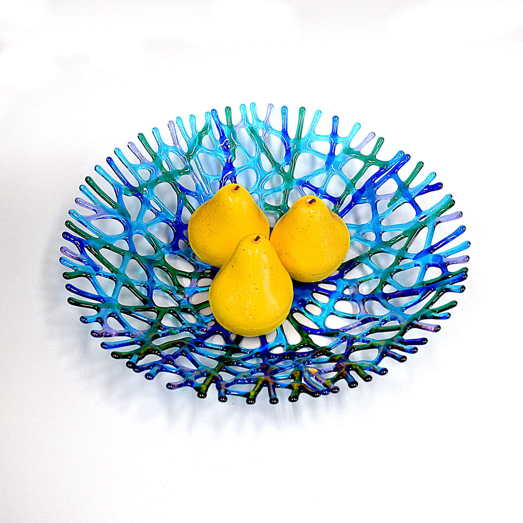 Fused Glass Coral Art XLarge Fruit Bowl Centerpiece in Turquoise Blue Aqua Green & Lavender