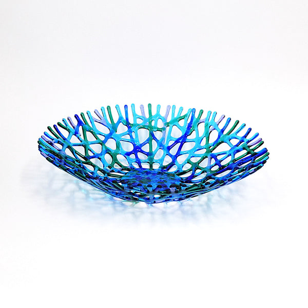 Fused Glass Coral Art XLarge Fruit Bowl Centerpiece overview