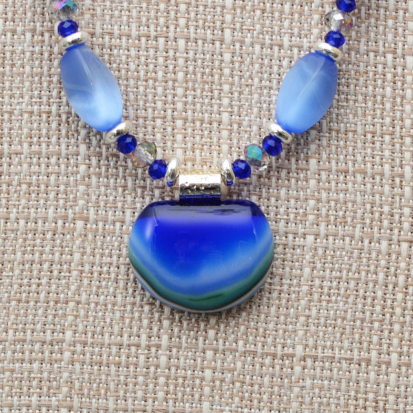 Jewelry Hand Beaded Blue Cats Eye & Fused Glass Pendant Earring Set
