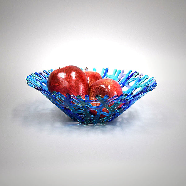 Lacy Glass Art Tall Coral Fruit Bowl in Turquoise Lavender & Aqua