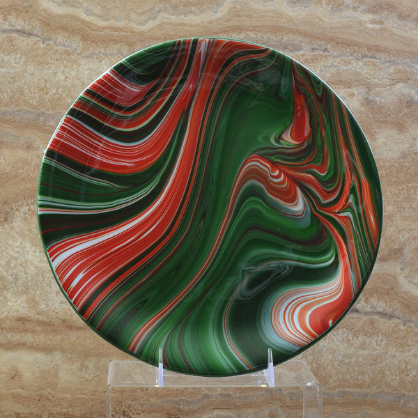 Fused Glass Christmas Cookie Plate Serving Platter