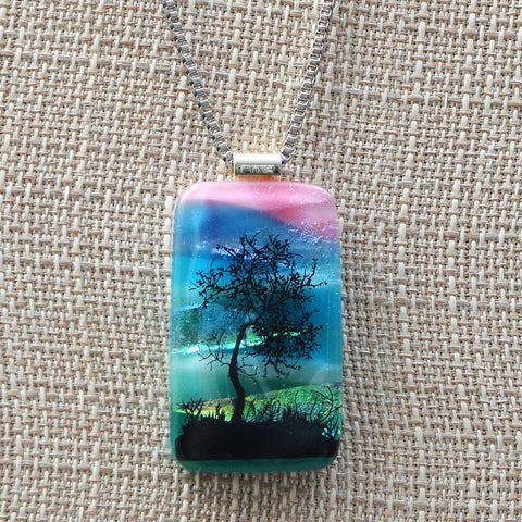 Scenic Layered Fused Glass Tree on a Lake Pendant
