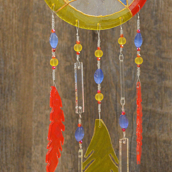 Hand Beaded Fused Glass Dream Catcher