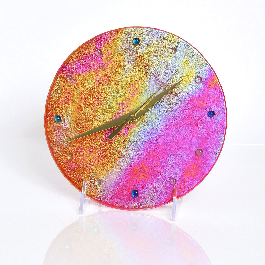 Custom Fused Glass Clock in Luminescent Glass