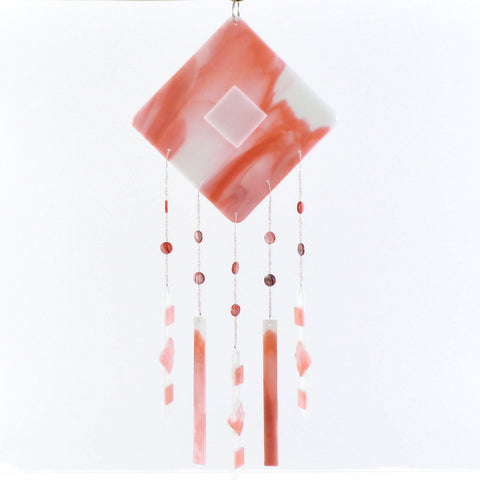 Fused Glass Wind Chimes in Salmon & White | The Glass Rainbow