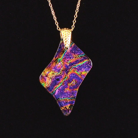 Fused Glass Dichroic Pendant Necklace | The Glass Rainbow