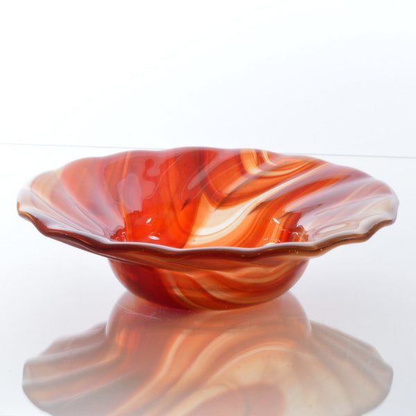 Swirled Fused Glass Red Bowl | The Glass Rainbow