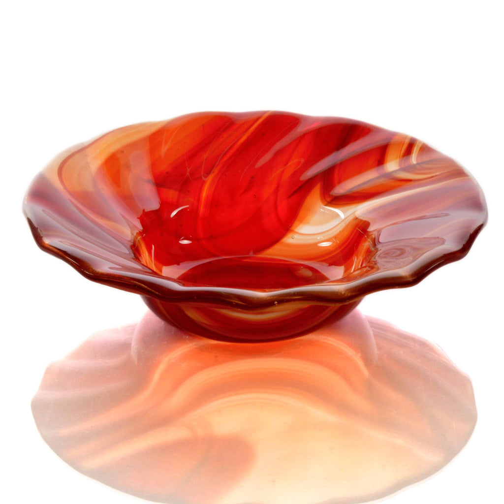 Brick Red Fused Glass Candy Bowl | Kiln Formed Glass