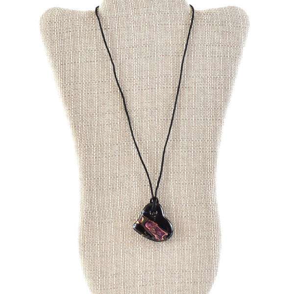 Jewelry Fused Glass Black Dichroic Heart Necklace
