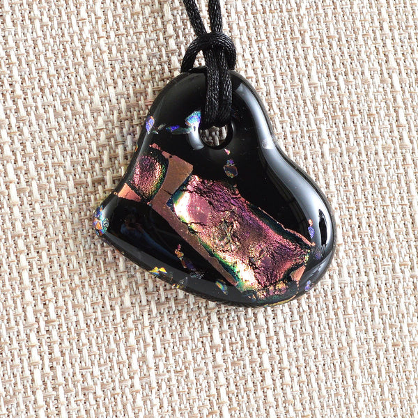 Fused Dichroic Glass Heart Pendant | The Glass Rainbow