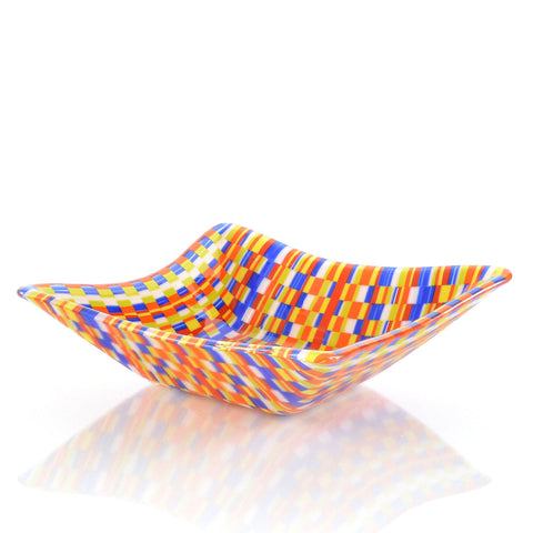 Bargello Square Fused Glass Candy Dish | The Glass Rainbow