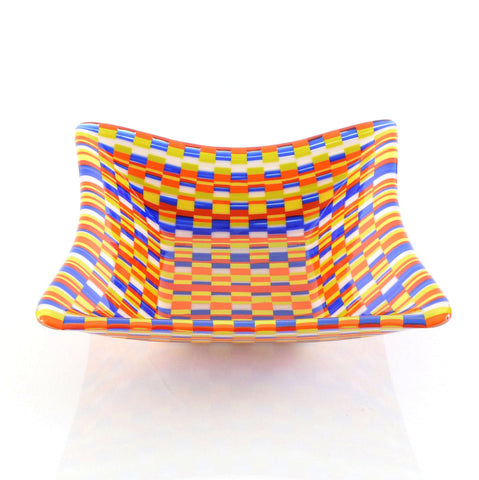 Handcrafted Fused Glass Bargello Square Bowl in Primary Colors | The Glass Rainbow