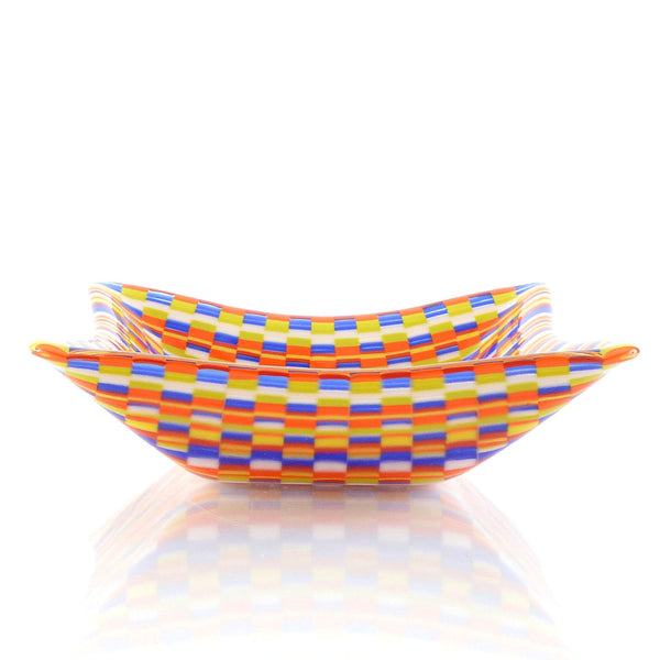 Fused Glass Bargello Pattern Tapestry Snack Dish Bowl