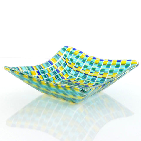 Bargello Glass Art Square Dish in Green/Blue  | The Glass Rainbow