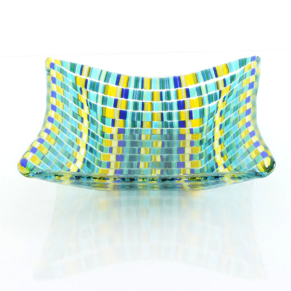 Fused Glass Bargello Tapestry Print Candy Dish